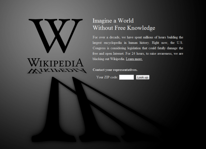Wikipedia SOPA Strike