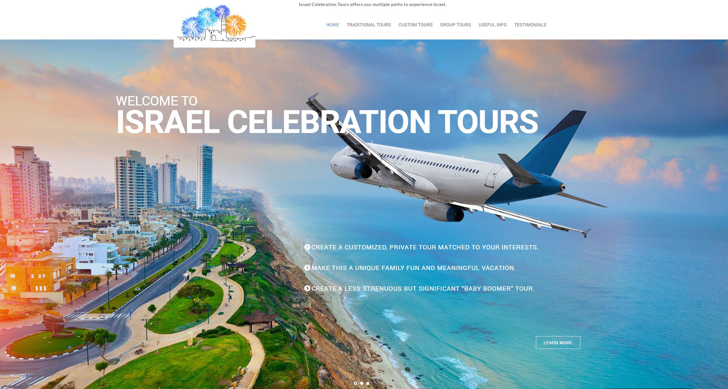 Israel Celebration Tours website