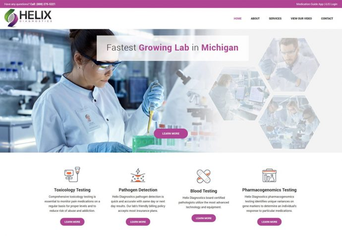 OMA Comp Designed a Web For Helix Diagnostics
