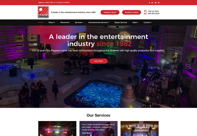 OMA Comp Designed a Web Pegasus Entertainment