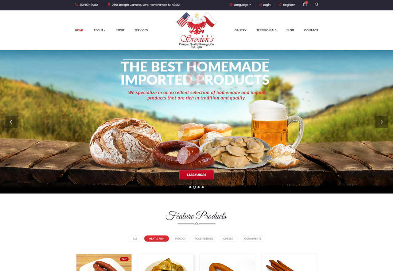 OMA Comp Designed a Web For Srodek`s Campau Quality Sausage