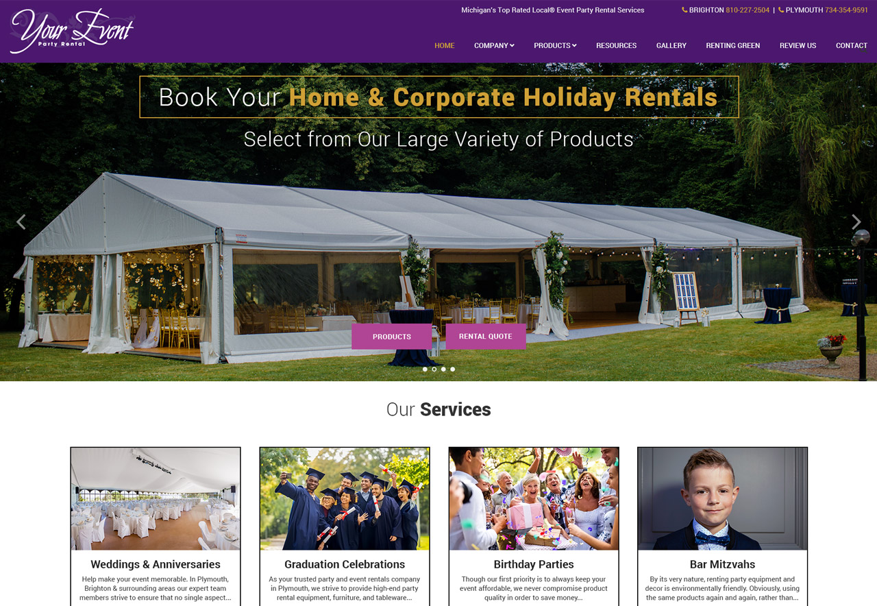 OMA Comp Designed a Web For Your Event Party Rental